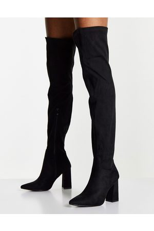 Truffle Collection Thigh high heeled boots in black