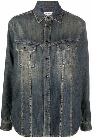 Saint Laurent Faded-effect denim shirt