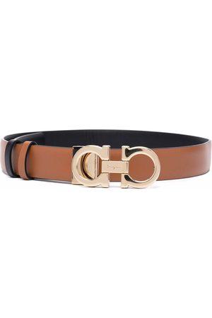 Salvatore Ferragamo Logo-plaque leather belt