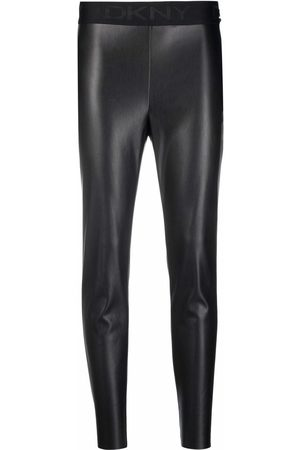 DKNY Faux-leather cropped leggings