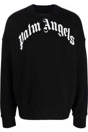 Palm Angels Muži Mikiny bez kapuce - Curved-Logo sweatshirt