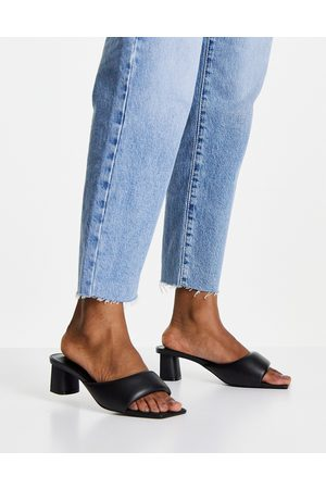 MANGO Padded heeled mule sandal in black