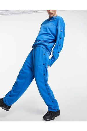 ASOS Co-ord oversized straight leg joggers with poppers in blue