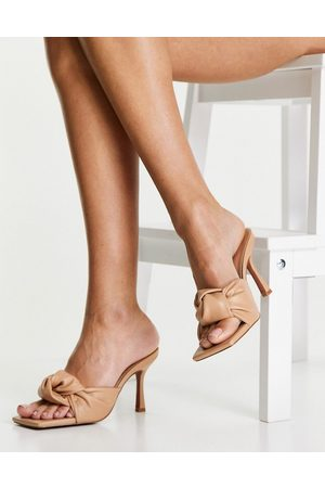 ASOS Harlie knotted mid heeled mules in beige-Neutral