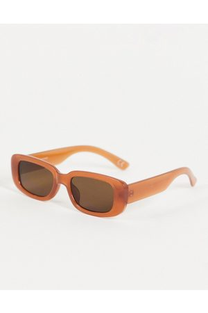 ASOS Mid rectangle sunglasses in brown with tinted lens