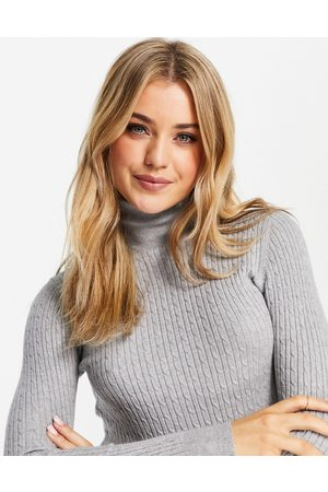 Stradivarius High neck jumper with cable knit detail in grey
