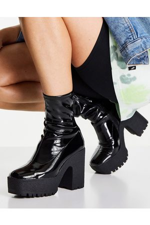 ASOS Ženy Na podpadku - Elena high heeled sock boots in black patent