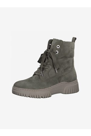 Tamaris Zelené semišové kotníkové boty
