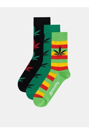 MEATFLY Sada tří párů pánských vzorovaných ponožek v zelené a černé barvě