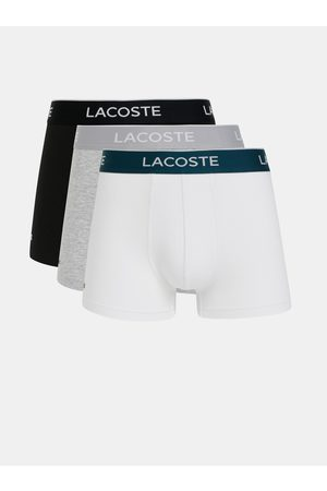Lacoste Sada tří boxerek v černé, šedé a bílé barvě