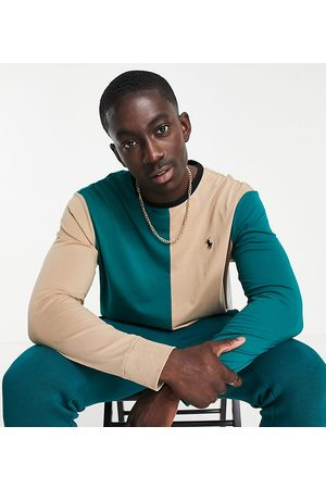 Polo Ralph Lauren X ASOS exclusive collab long sleeve t-shirt in colour block green/tan and pony logo-Multi
