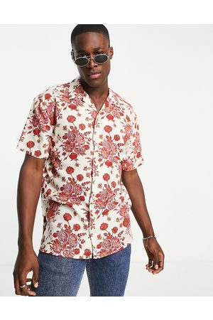 JACK & JONES Muži S krátkým rukávem - Originals revere collar shirt with kanji print in white