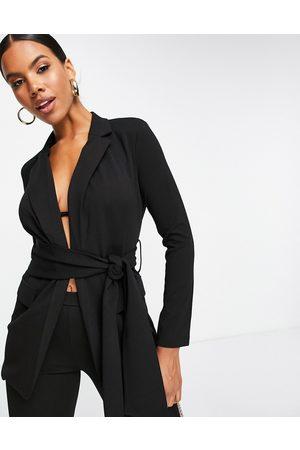ASOS Jersey suit blazer with obi tie waist in black