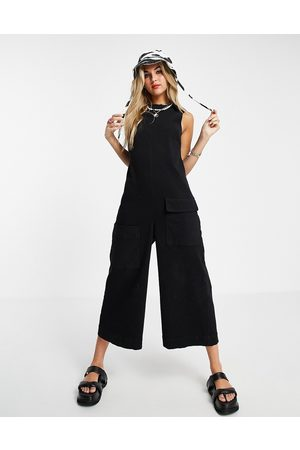 ASOS Twill sleeveless minimal jumpsuit in black