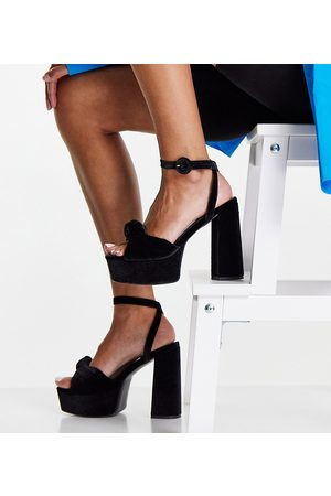 ASOS Wide Fit Note knotted platform heeled sandals in black