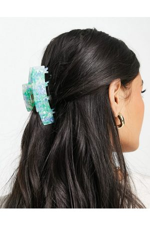 ASOS Hair claw with double prong in mixed resin-Green