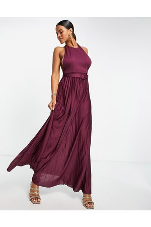 ASOS Halter belted pleated maxi dress in oxblood-Purple