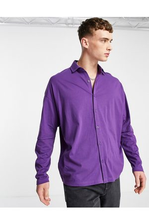ASOS ASOS DSEIGN oversized long sleeve double layer jersey shirt in purple