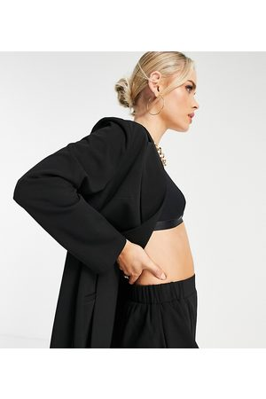 ASOS Petite jersey slouchy suit blazer in black