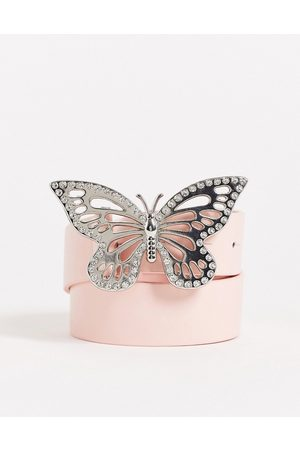 ASOS Waist and hip belt with butterfly buckle in pink