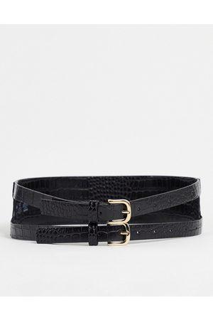 ASOS Ženy Pásky - Double buckle waist belt in black croc