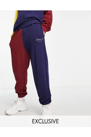 Reclaimed Muži Tepláky - Inspired relaxed joggers with embroidered logo in colourblock co-ord-Navy