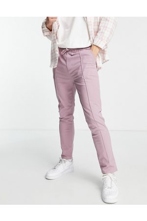 ASOS Slim chinos with pin tucks and elasticated waist in purple