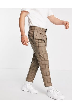 ASOS Tapered cropped wool mix smart trousers in camel check-Neutral