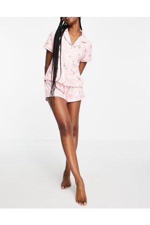 Chelsea Peers Baby pink & silver foil horse print pyjama set