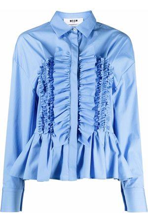 Msgm Ženy S dlouhým rukávem - Ruffled long-sleeve shirt