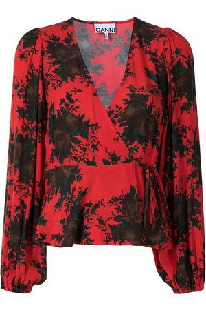 Ganni Rose print wrap blouse
