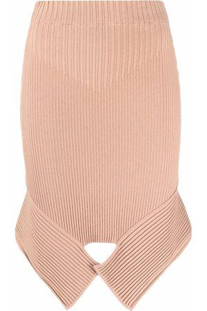 Adamo Ribbed-knit asymmetric skirt
