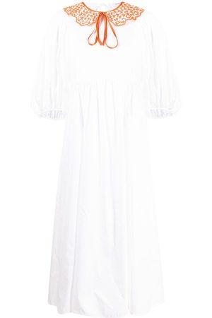 Cecilie Bahnsen Ženy Midi - Contrast collar mid-length dress
