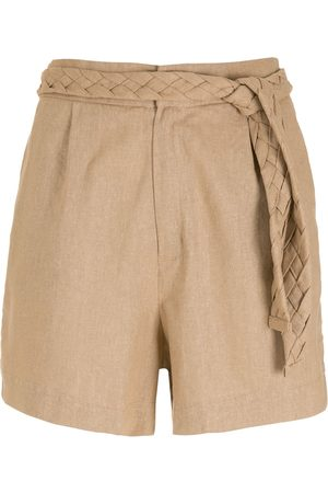 LUIZA BOTTO Belted eco linen-blend shorts