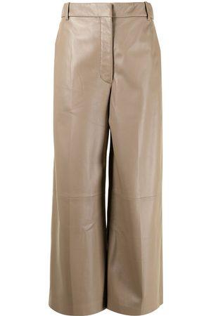 Joseph Ženy Kožené kalhoty - Wide-leg cropped leather trousers