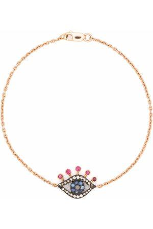 MONAN 18kt rose gold Evil Eye diamond, sapphire and ruby bracelet