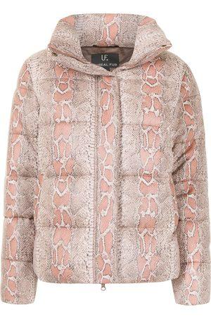 Unreal Fur Python-print puffer jacket