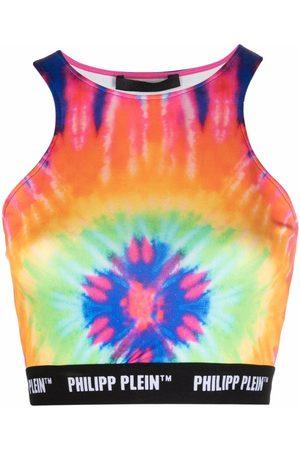 Philipp Plein Ženy Se širokými ramínky - Tie dye-print cropped top