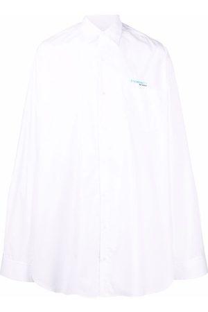 RAF SIMONS Muži Volnočasové - Synchronicity logo-embroidered oversized shirt