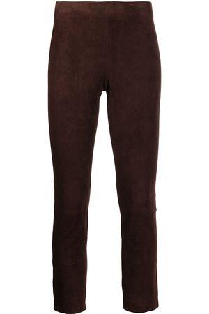 Vince Ženy Kožené kalhoty - Suede cropped trousers