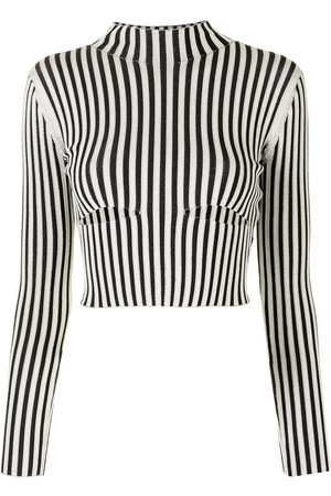 DION LEE Ženy S dlouhým rukávem - Striped slash-cut longsleeved top
