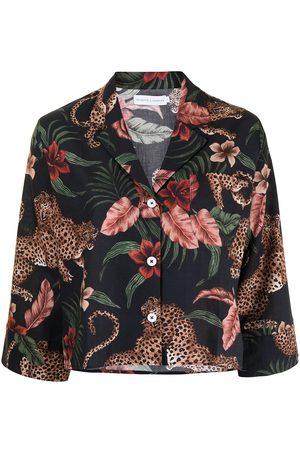 Desmond & Dempsey Soleia tiger-print pyjama top