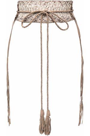 Gianfranco Ferré 1990s contrast stitching tassel leather belt