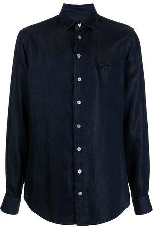 Armani Muži Džínové košile - Logo-embroidered denim shirt