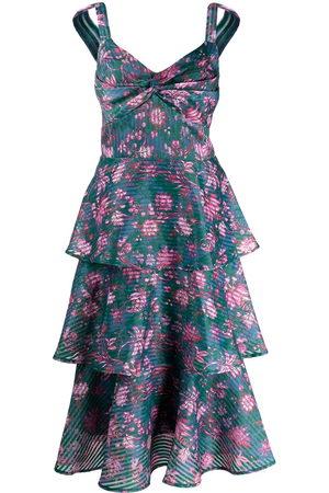 Marchesa Notte Floral-print tiered flared midi dress