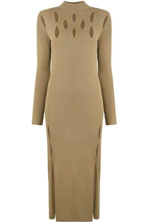 DION LEE Ribbed-knit slash-detail dress