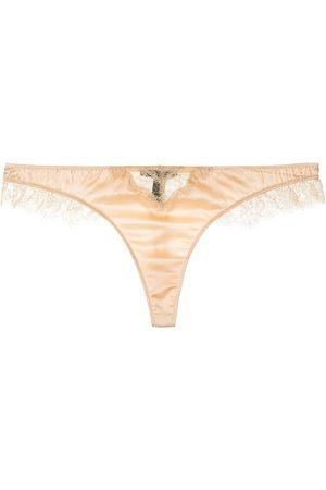 Kiki de Montparnasse Lace-insert silk-blend thong
