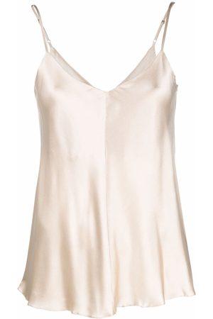 12 STOREEZ Ženy S úzkými ramínky - V-back silk camisole