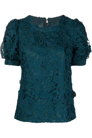 Marchesa Notte Guipure floral lace midi dress