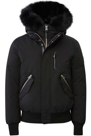Mackage Muži Bombery - Dixon 2-in-1 Down Bomber with Hooded Bib and Blue Fox Fur in Black-Black